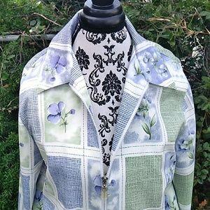 Alfred  Dunner Jacket  zip 10p purple flowers